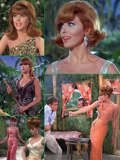 "a tiki wardrobe....Tina Louise as 'The Movie Star, Ginger Grant' on Gilligan's Island (1964-67, CBS) who somehow managed to pack a fabulous wardrobe for her ""three-hour tour""."