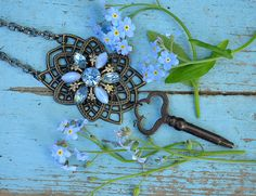 Repurposed brooch necklace with skeleton key  by crazyfoxstudio