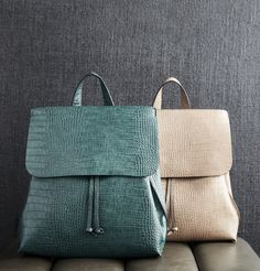 Croc embossed backpack in emerald and taupe | Sole Society Selena