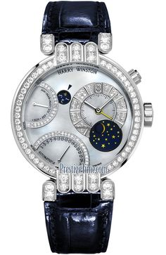 Harry Winston Premier Excenter Perpetual Calendar $61,620 #HarryWinston #watch #watches Solid 18kt white gold case with a high polished finish.Diamonds:Bezel & lugs set with 68 round cut diamonds.