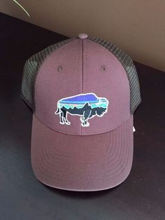 New With Tags Rare Patagonia Fitz Roy LoPro Bison Mesh Trucker Hat Light Brown #Patagonia #Trucker