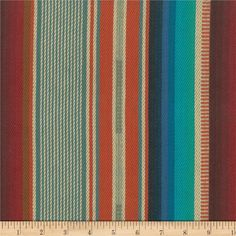 Laura & Kiran Southwest Stripes El Paso Turq/Orange from @fabricdotcom  Designed by Laura & Kiran, this beautifully yarn dyed and hand woven fabric features a lovely textured hand and saturated hues that will transport you to the Mayan ruins of Chichen Itza. This heavyweight fabric is perfect for upholstery projects, toss pillows, and more! Colors include orange, shades of teal, cream, brown, and red.
