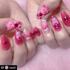 - - - - - - - - Not mine - - - -   Shellac Nails, Acrylic Nails, Love Nails, My Nails, Kawaii Nail Art, Korean Nails, Uñas Fashion, Pretty Nail Art, Artificial Nails