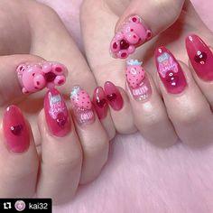 - - - - - - - - Not mine - - - -  Shellac Nails, Acrylic Nails, Love Nails, My Nails, Kawaii Nail Art, Korean Nails, Uñas Fashion, Pretty Nail Art, Artificial Nails