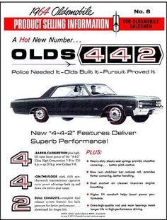 1964 Oldsmobile 442 salesman spec sales sheet