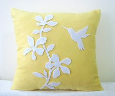 Spring Blossom Humming Bird Yellow And White Pillow Cover. Yellow Pillow Covers, White Cushion Covers, White Pillow Covers, Decorative Pillow Covers, Blue And White Pillows, Yellow Pillows, Cushion Embroidery, Floral Cushions, Felt Applique