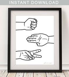 Printable Rock Paper Scissors Poster/Rock Paper Scissors Art/ Minimal Black and White Decor/Minimali Scissors Drawing, Scissors Tattoo, Scissors Hand, Rock Paper Scissors, Thumbs Up Drawing, Scissors Design, Office Wall Art, Office Decor, Paper Illustration