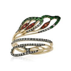Whimsical wing bypass design shimmers with orange sapphires, luscious green tsavorite garnets and 3/8 carat total weight of  diamonds. In 14K yellow gold with black rhodium detail.  A truly unique ring inspired by the effortless elegance of nature.