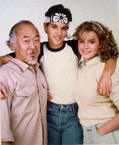 The karate kid 1984 (pat Morita, Ralph macchio and Elisabeth shue). The Karate Kid 1984, Karate Kid Movie, Karate Kid Cobra Kai, 80s Movies, Iconic Movies, Great Movies, Action Movies, Ralph Macchio, Tia Carrere