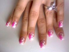 Cute Nail Designs for Short Nails Pink Acrylic Nail Designs, 3d Acrylic Nails, Simple Acrylic Nails, Simple Nail Designs, Nail Art Designs, Design Art, Hipster Nail Art, Pink Tip Nails, Pink Nail