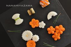 artistically sliced daikon and carrot Cute Food, Yummy Food, Food Carving, Vegetable Carving, Sushi Design, Cold Meals, Food Crafts, Food Humor, Fruit And Veg