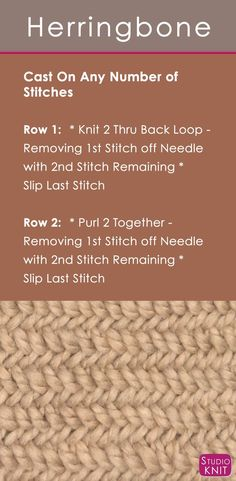 How to Knit the Herringbone Stitch with Easy, Free Knitting Pattern + Video Tutorial by Studio Knit (diy easy knitting projects stitches) Knitting Stiches, Loom Knitting, Knitting Needles, Knitting Patterns Free, Free Knitting, Stitch Patterns, Crochet Patterns, Knit Stitches, Vintage Knitting