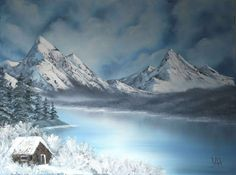bob ross Wet On Wet Painting, The Joy Of Painting, Pinturas Bob Ross, Bob Ross Art, Happy Little Trees, Bob Ross Paintings, Winter Cabin, Winter Painting, Landscape Paintings