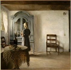 """Peter Vilhelm Ilsted (1861–1933) Danish artist and printmaker. Ilsted, Carl Holsoe and Ilsted's brother-in-law, Vilhelm Hammershøi, were the leading artists in early 20th century Denmark. All three artists were members of 'The Free Exhibition', a progressive art society created around 1890. They are famous for painting images of """"Sunshine and Silent Rooms"""", all in subtle colors. Their works reflects the orderliness of a tranquil life. Oil on canvas Private collection."""