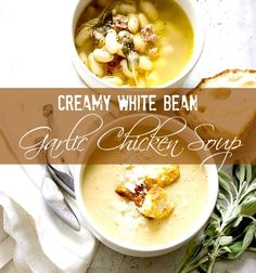Warm up your fall and winter with this delicious Creamy White Bean and Garlic Chicken Soup. #soup #dinner #recipe #healthy