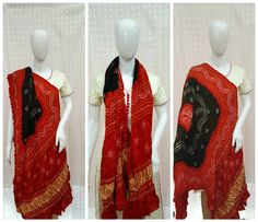 "Aptly said ""When in doubt wear red"" Adorn yourself with this ravishing red and black bandhani dupatta. Black in centre magnifies the red color in periphery. Shikari Bandhej pattern made out of Fine & small bandhani dots beautifies the heavy gajji silk material. Traditional lagdi patto (Zari Border)pattern in daman (Ends) gives a rich traditional look to this dupatta.  For info/collaboration- 9377399299 #sankalpthebandhejshoppe #bandhanidupatta #dupatta #bandhani #bandhej #bandhanisarees"