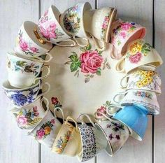What a whimsical way to show the wonder of vintage teacups , woolly inside photo art