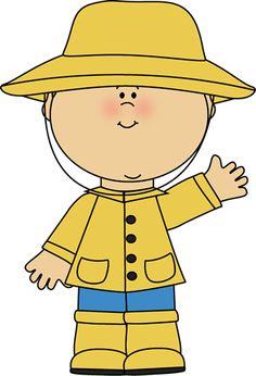 Boy Wearing a Raincoat Clip Art - Boy Wearing a Raincoat Image