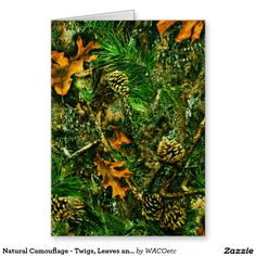 Natural Camouflage - Twigs, Leaves and Pinecones Card
