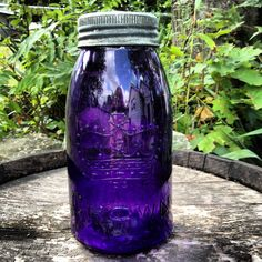 Deep Royal Purple SCA Crown Vintage Half Gallon Mason Fruit Canning Jar. $100.00, via Etsy.