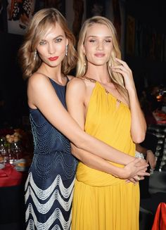 Pin for Later: The Most Stunning Snaps From Cannes  Karlie Kloss and Rosie Huntington-Whiteley met up at the amfAR Gala.