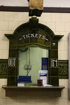 Art Nouveau tiled ticket desk at a train station Polar Express Christmas Party, Polar Express Party, Train Bedroom, Level Design, Train Party, Office Christmas, Train Tickets, Vacation Bible School, London Underground