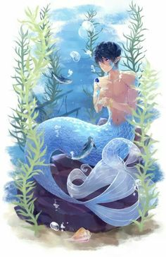 From lesfrites . - Iwatobi Swim Club, my Haruka Nanase is merman Anime Merman, M Anime, Mermaid Artwork, Mermaid Drawings, Mermaid Paintings, Fantasy Mermaids, Mermaids And Mermen, Fantasy Creatures, Mythical Creatures