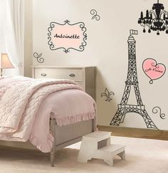 Stickers chambre fille personnalisables, thème français