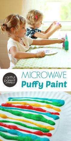 On April we will be making our our Microwave Puffy Paint inspired by this pin! Microwave Puffy Paint (and 3 Other Fun Things to Do with a Microwave) via Artful Parent Painting Activities, Art Activities For Kids, Creative Activities, Preschool Art, Preschool Activities, Painting For Kids, Art For Kids, Kid Art, Dot Painting