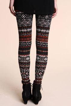 Aztec winter leggings - I  WANT this!!
