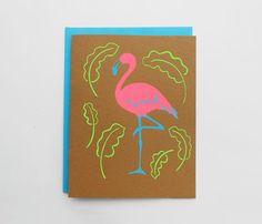 Tropical Flamingo Silkscreen Card by luckyhorsepress on Etsy