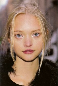 Gemma Ward - lovely simple and natural look, berry stain lip and pale smokey eye, loose updo