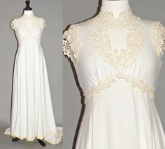b1b8d939741d Vintage 1960s Wedding Dress, Empire Waist 60s Wedding Gown with Crochet  Lace Cutouts and Train, S-M