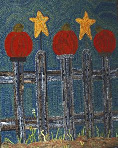 Fall-themed rug hooking patterns from The Wool Street Journal