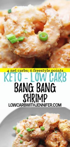 This low carb and keto bang bang shrimp recipe uses a flavorful breading of almond flour and parmesan. The sauce is so delicious, I am obsessed! 4 Net Carbs; 6 Freestyle Points Air Fryer Recipes Shrimp, Low Carb Shrimp Recipes, Egg Recipes, Fish Recipes, Ketogenic Recipes, Ketogenic Diet, Keto Foods, Paleo Food, Keto Diet Plan