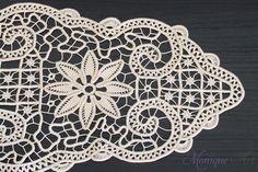 Handmade point lace crochet by Monique Art. This handmade point lace could be a perfect gift for Mother's Day. Crochet Doilies, Crochet Lace, Fabric Stiffener, Romanian Lace, Point Lace, Needle Lace, Macrame Patterns, Irish Lace, Lace Making