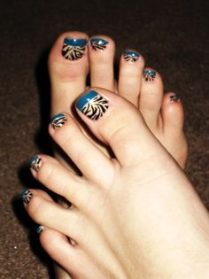 Blue French Zebra Toes - Nail Art Gallery by nailsmag.com