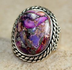 'Vintage Style Purple Copper Turquoise SSilver Ring' is going up for auction at 11am Sun, Nov 11 with a starting bid of $5.