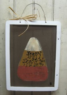 Candy Corn Screen | Hand Painted Screens | Primitive Fall Décor | Gainers Creek Crafts