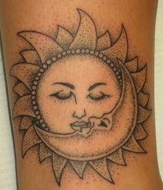 Inner arm moon and sun tattoo