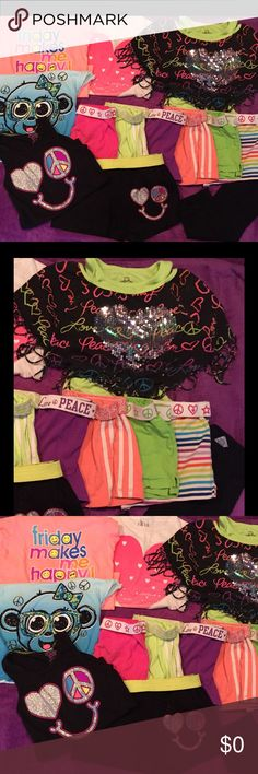 13pc bundle Tshirts, shorts, capris Justice, CP Girl's size Medium 7/8  lightly worn  4 cute Tshirts, 6 pair shorts, black lace bottom Capri leggings, I peace emoji tank set. Tank L shorts M. Some Justice and Children's Place. Bottoms Shorts