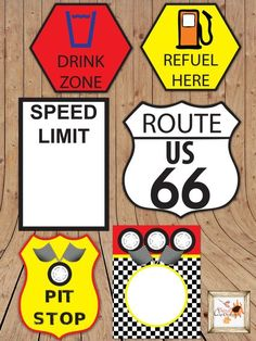 Race Car Themed Printable Party Road Signs in by aFriendDesigns Hot Wheels Party, Festa Hot Wheels, Hot Wheels Birthday, Race Car Birthday, Disney Cars Birthday, Boy Birthday, Birthday Ideas, Nascar Party, Race Party