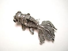Sterling Silver Koi Fish Brooch Pin Pendant Marcasite Onyx Articulated 925