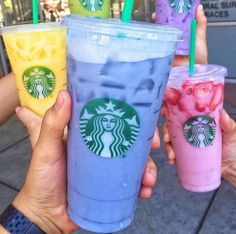 And then there was blue! Taste the rainbow with these new Starbucks Secret Menu colored beverages!