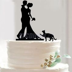 Silhouette Bride & Groom Kissing Couple with Cat Acrylic Wedding Cake Topper #Unbranded