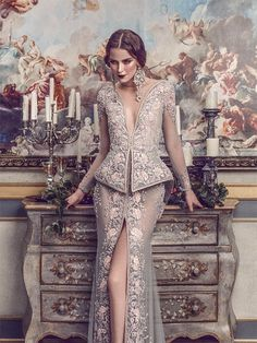 Womens Fashion - We first shared Michael Cinco's magnificent Fall/Winter 2017 couture collection inspired by Château de Versailles, the palace built d Sheath Wedding Gown, Wedding Gowns, Michael Cinco Couture, High Fashion, Womens Fashion, Arab Fashion, Atelier Versace, Zuhair Murad, Marchesa