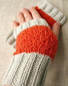colorblock orange & grey cashmere knit fingerless gloves (designer: elena rosenberg)