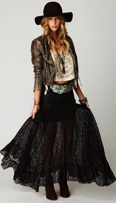 Free People Two Tone Pieced Lace Maxi, gorgeous boho chic / cowgirl chic, pieced together lace maxi skirt with contrasting embroidery all over. Gypsy Style, Boho Gypsy, Hippie Style, Hippie Boho, Boho Style, Edgy Bohemian, Bohemian Style Clothing, Ethnic Style, Estilo Hippie Chic