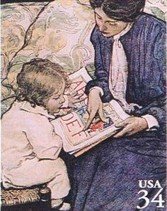 The First Lesson, a cover from The Ladies' Home Journal December 1904 by Jessie Willcox Smith (1863-1935)