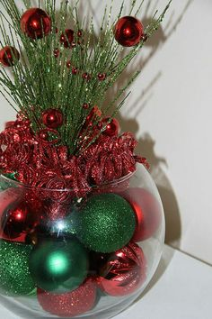 Christmas Centerpiece, Christmas Centerpieces, Red and Green Christmas, Holiday… Christmas Vases, Christmas Candle Decorations, Silver Christmas, Simple Christmas, Christmas Holidays, Christmas Crafts, Handmade Christmas, Green Christmas, Christmas Wedding